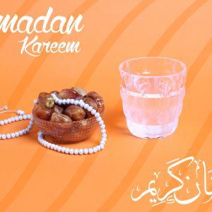 Ramadan Mubarak ,Poster, Flyer, Brochure, Design photography on orange background.