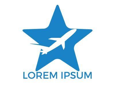 Star flying aviation logo design. Holiday Plane Logo Design.