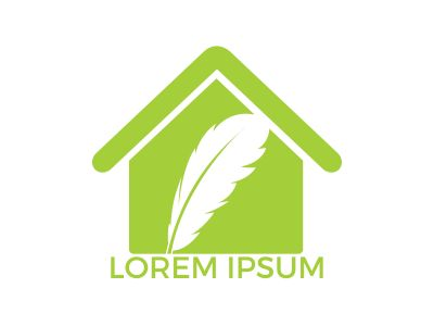 Feather and home logo vector design. Educational and institutional logo.