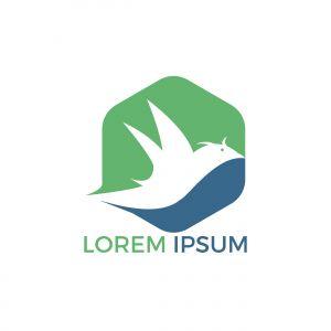 Bird logo design. Animal Bird sign. Peace symbol Vector logo.