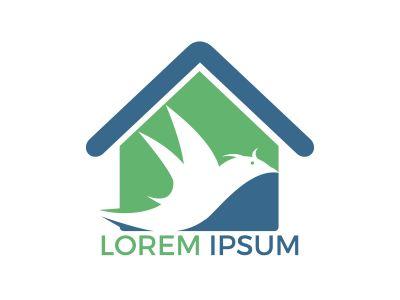 Bird home shape logo design. Bird home estate logo design template.