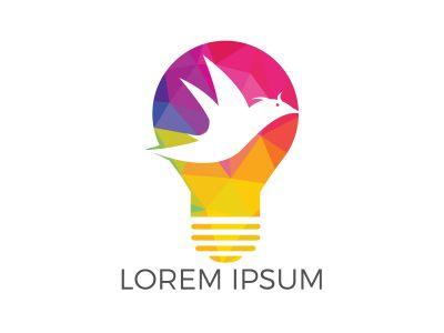 Smart bird lamp bulb idea logo design. Creative bird logo design concept.