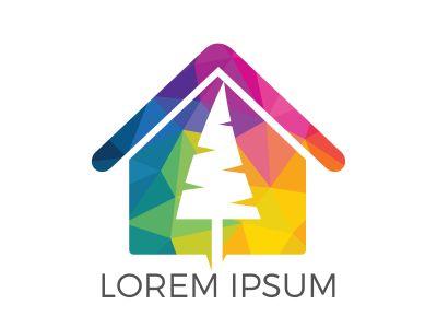 Tree house logo design. Eco house concept.