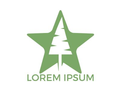 Star tree logo design. Organic tree spruce sign.