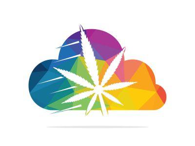Cloud Medical cannabis marijuana vector logo design. Marijuana medical logo concept.