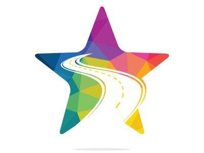 Star Road logo vector design template. Creative road journey logo design.