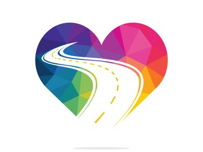 Love road vector logo design. Creative road journey logo design.