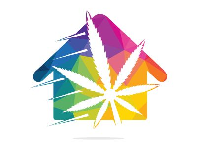 Cannabis house vector logo design. Cannabis leaf and house logo designs inspiration isolated on white background.
