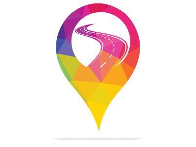 Pin Road Location logo design. Transport app logo design concept.
