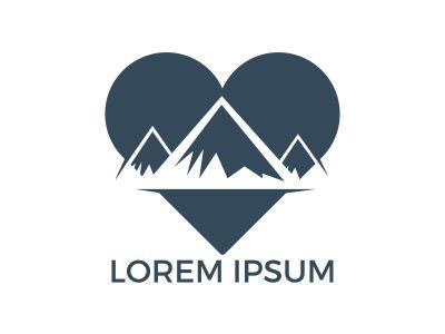 Creative mountain and love logo design. Mountain adventure lover logo inspirations, mountain traveling lover logo concept.