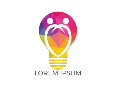 People in light bulb vector design. Corporate business and industrial creative logotype symbol.Brainstorming and teamwork concept.