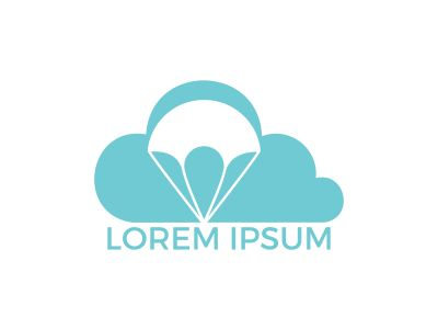 Parachute and cloud logo design. Delivery air balloon symbol. Business corporate vector icon.